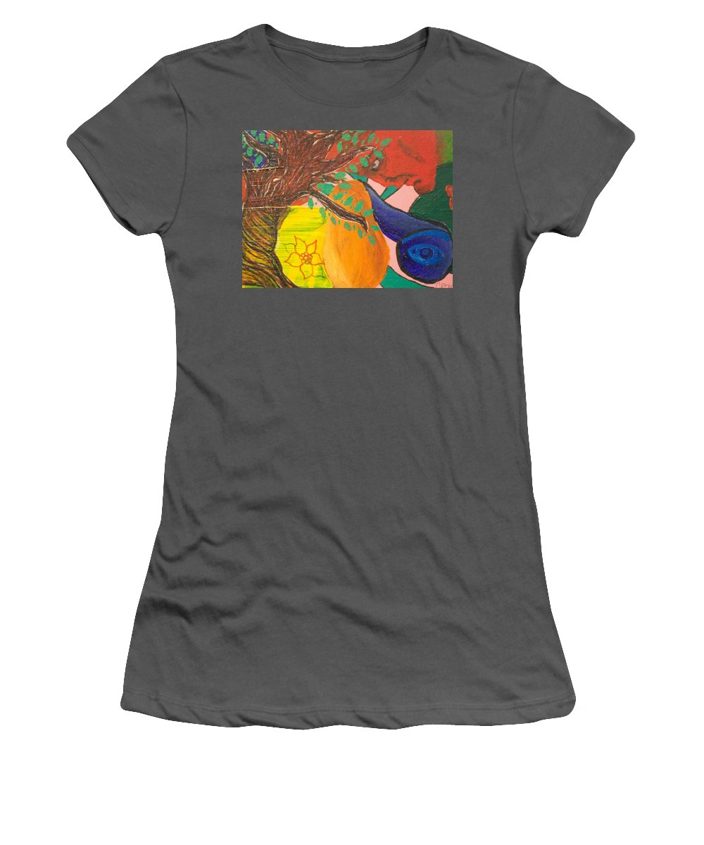 Tree Women's T-Shirt (Athletic Fit) featuring the painting Dreaming Tree Abstract by Laurette Escobar