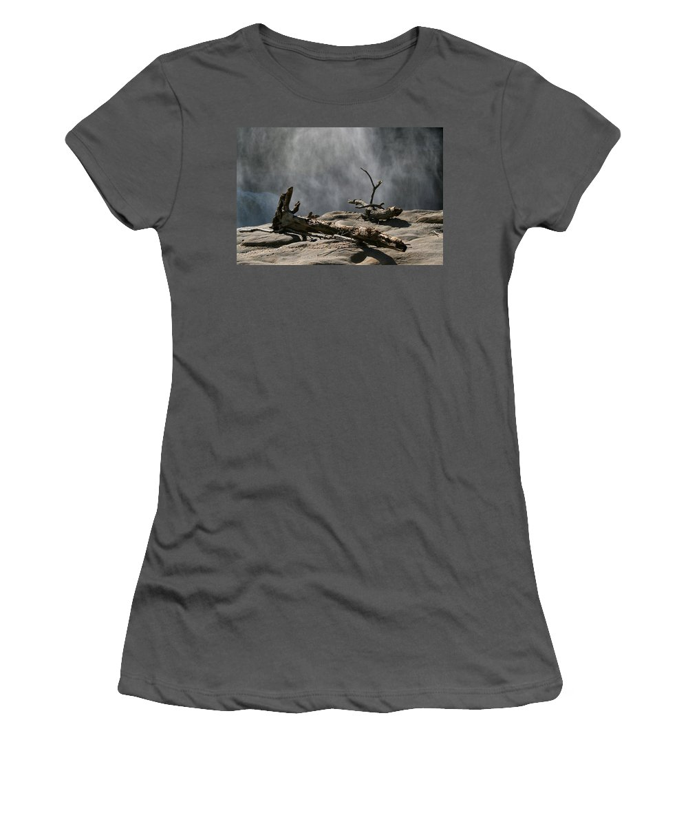 Wood Drift Driftwood Rock Mist Waterfall Nature Sun Sunny Waterful Glow Rock Old Aged Women's T-Shirt (Athletic Fit) featuring the photograph Driftwood by Andrei Shliakhau