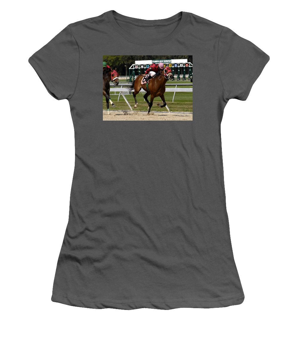 Horse Racing Women's T-Shirt (Athletic Fit) featuring the photograph Drive by David Lee Thompson