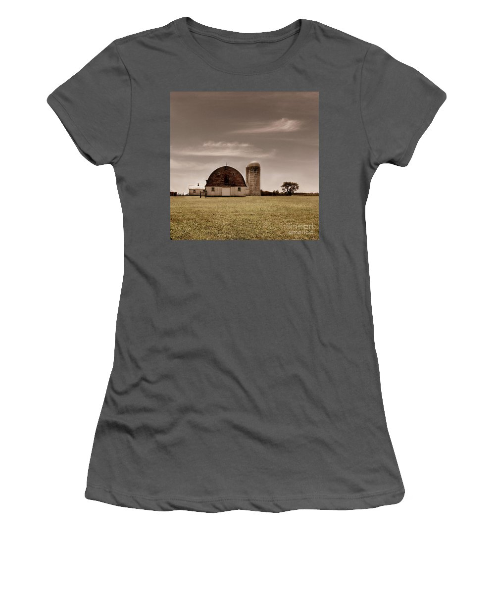 Farm Women's T-Shirt (Athletic Fit) featuring the photograph Dry Earth Crumbles Between My Fingers And I Look To The Sky For Rain by Dana DiPasquale