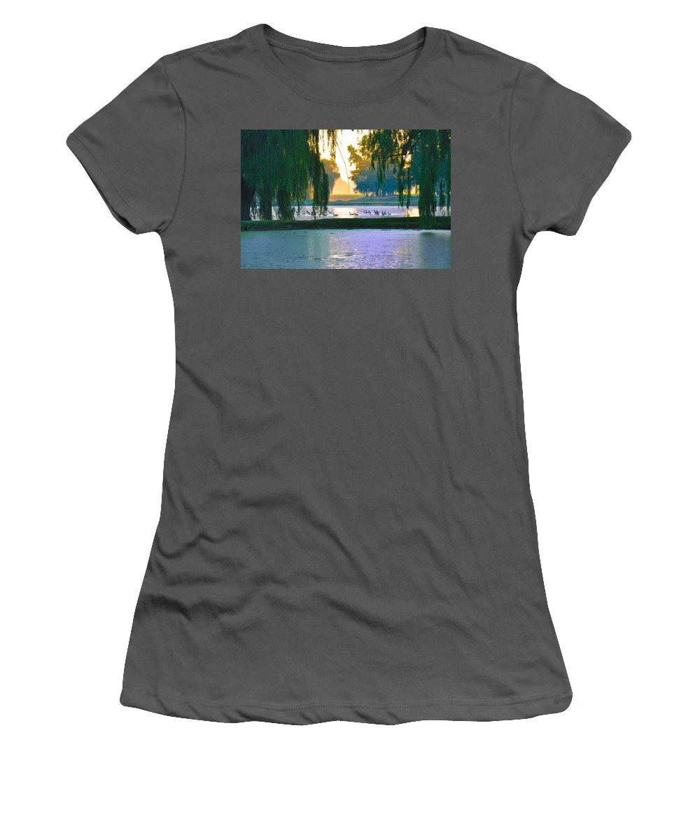 Ducks Women's T-Shirt (Athletic Fit) featuring the photograph Duck Pond At Dawn by Bill Cannon