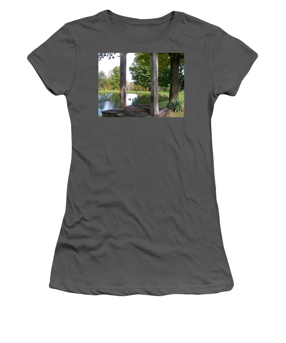 Photography Women's T-Shirt (Athletic Fit) featuring the digital art Duck Pond by Barbara S Nickerson