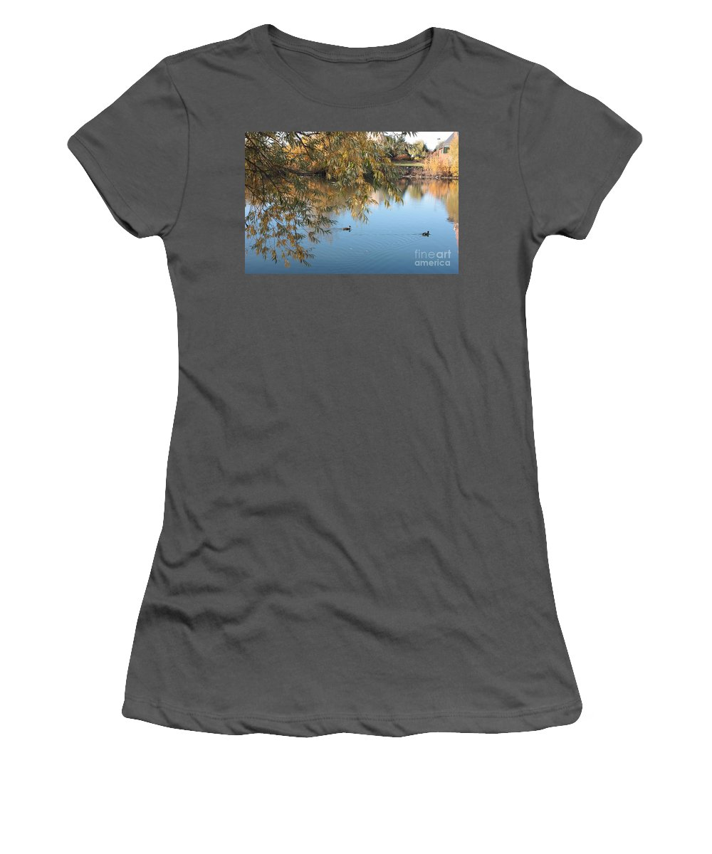 Autumn Pond Women's T-Shirt (Athletic Fit) featuring the photograph Ducks On Peaceful Autumn Pond by Carol Groenen