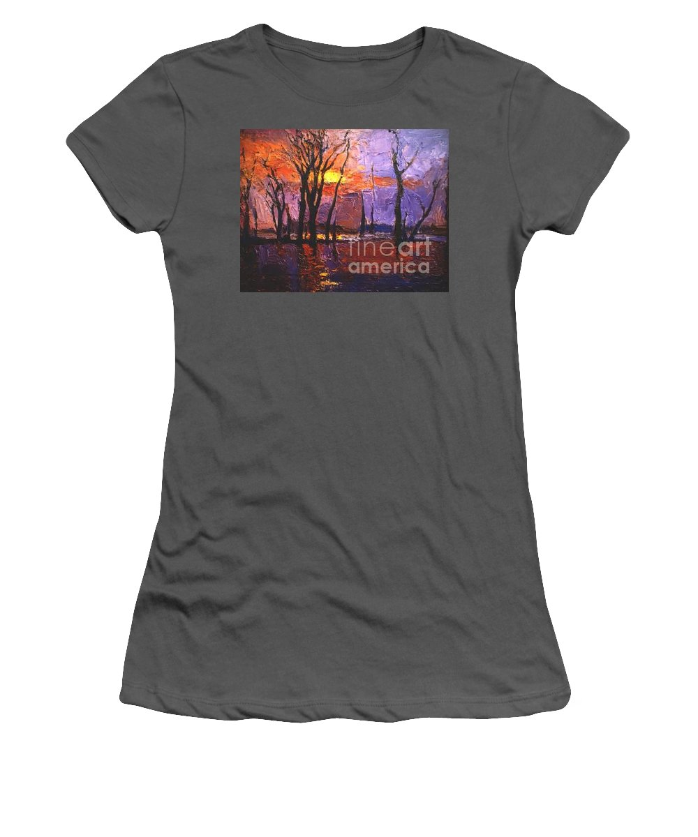 Dusk Women's T-Shirt (Athletic Fit) featuring the painting Dusk by Meihua Lu