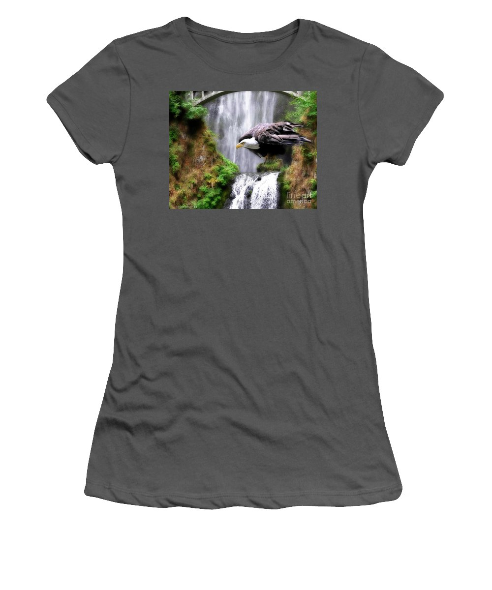 Eagle Women's T-Shirt (Athletic Fit) featuring the painting Eagle By The Waterfall by Constance Woods