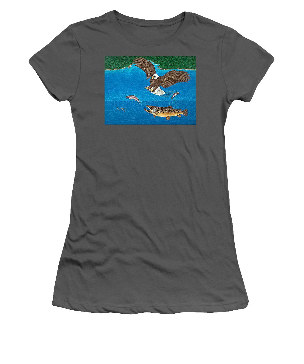 Art Print Prints Giclee Canvas Framed Brown Trout Eagle Lake Mountain Forest Nature Wildlife Wall Women's T-Shirt (Athletic Fit) featuring the painting Eagle Trophy Brown Trout Rainbow Trout Art Print Blue Mountain Lake Artwork Giclee Birds Wildlife by Baslee Troutman