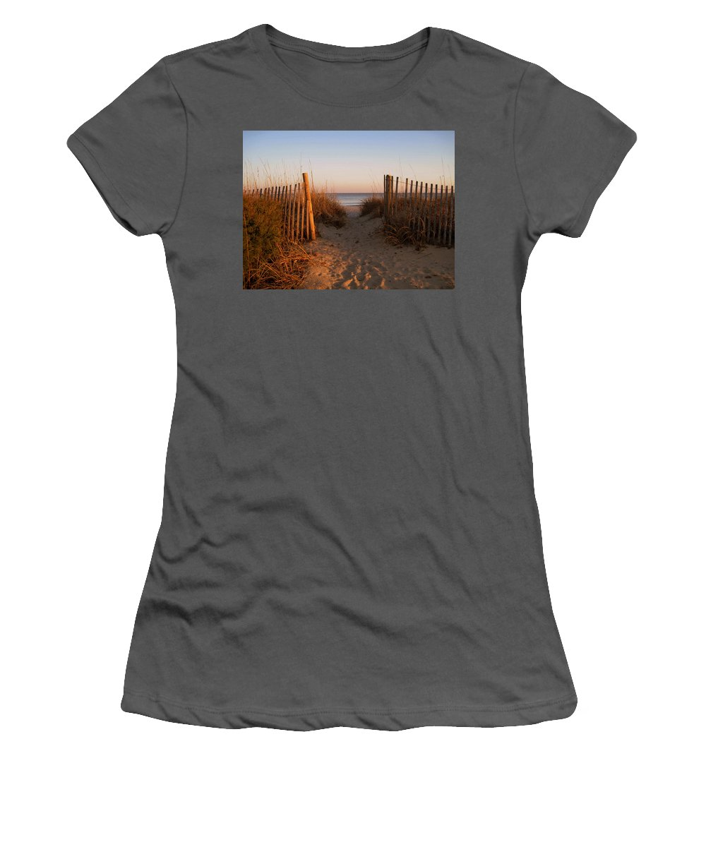 Beach Scene Women's T-Shirt (Athletic Fit) featuring the photograph Early Morning At Myrtle Beach Sc by Susanne Van Hulst
