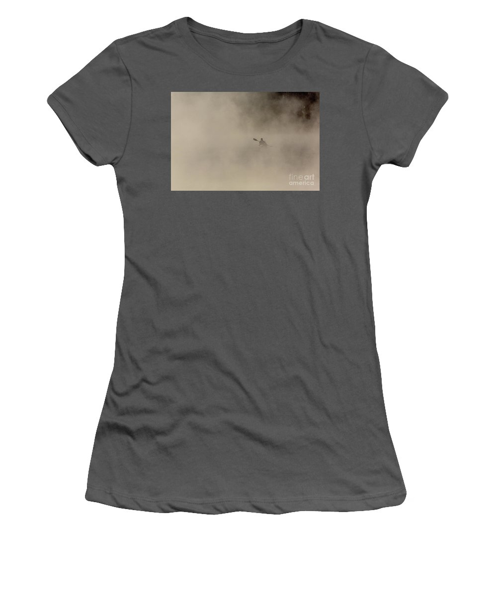 Kayak Women's T-Shirt (Athletic Fit) featuring the photograph Early Morning Paddle by Rodney Cammauf