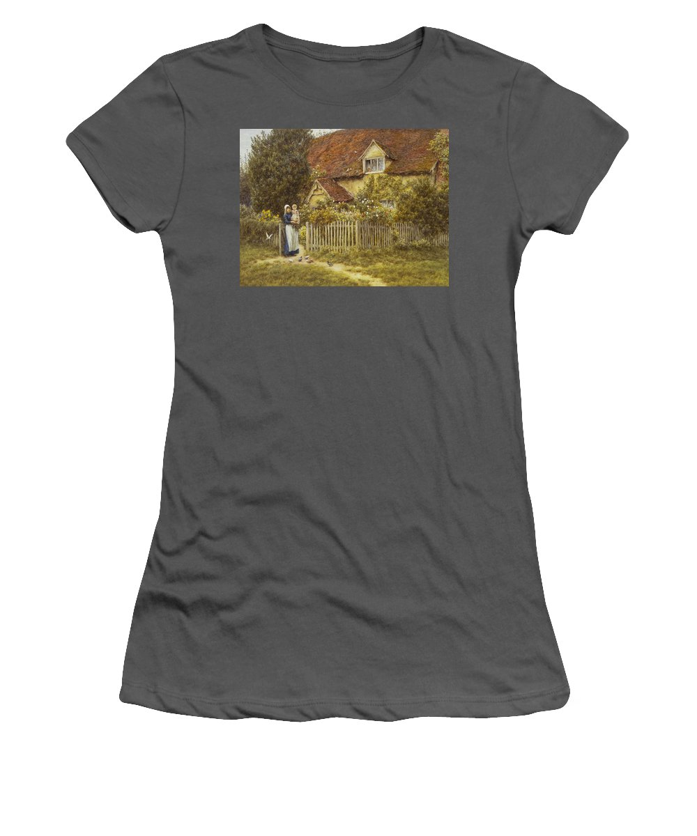 East End Farm Women's T-Shirt (Athletic Fit) featuring the painting East End Farm Moss Lane Pinner by Helen Allingham
