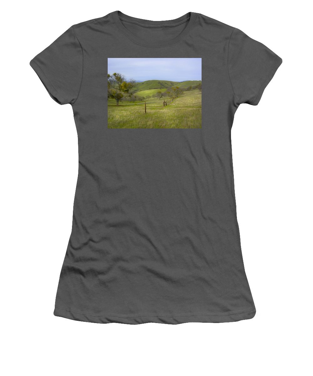 Landscape Women's T-Shirt (Athletic Fit) featuring the photograph East Ridge Trail Barbed Wire by Karen W Meyer