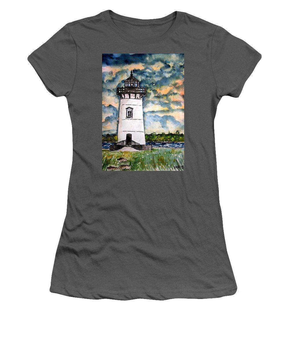 Lighthouse Women's T-Shirt (Athletic Fit) featuring the painting Edgartown Lighthouse Martha's Vineyard Mass by Derek Mccrea