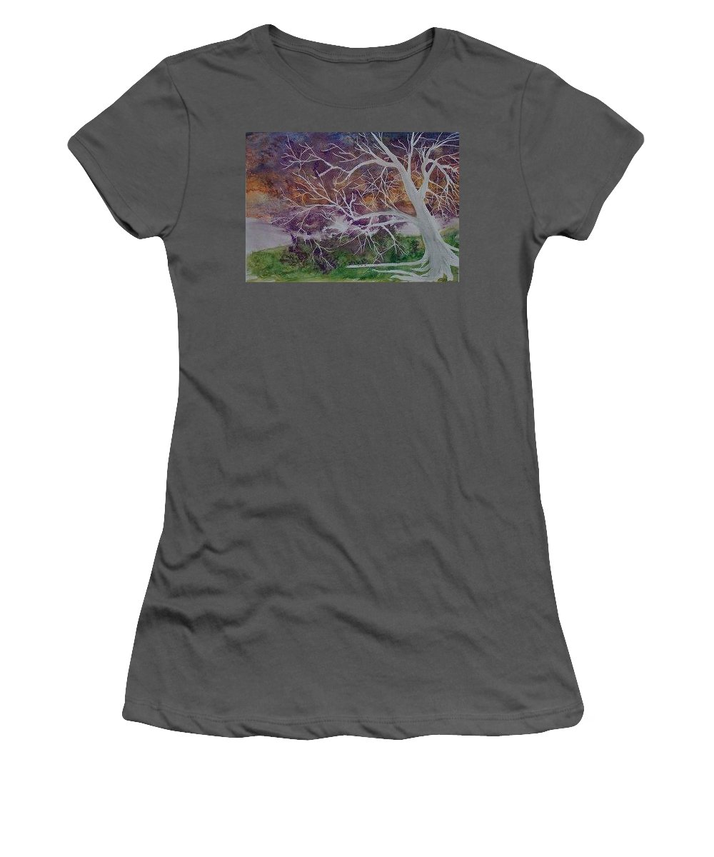 Watercolor Women's T-Shirt (Athletic Fit) featuring the painting Eerie Gothic Landscape Fine Art Surreal Print by Derek Mccrea