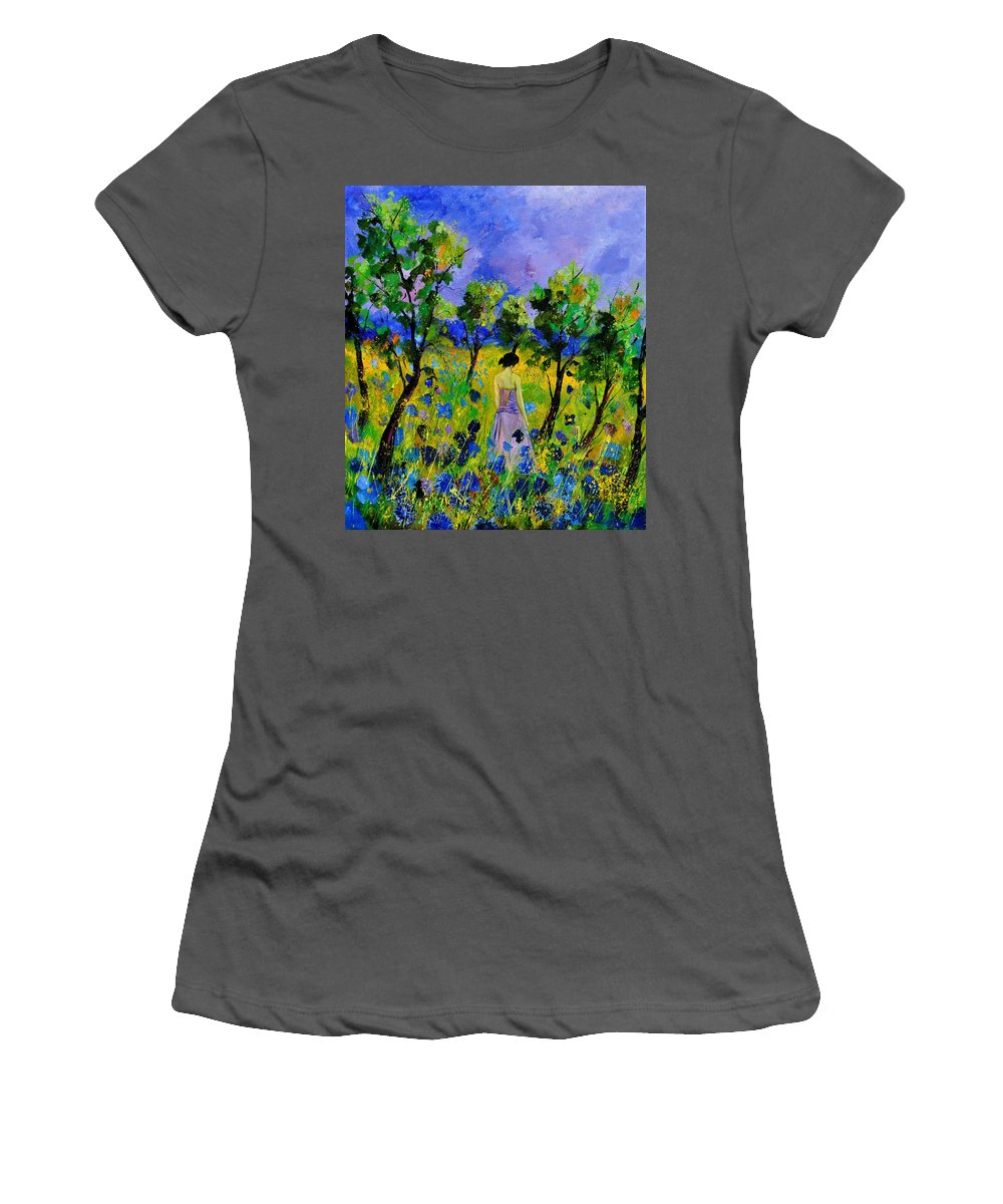 Landscape Women's T-Shirt (Athletic Fit) featuring the painting Eglantine's Summer Walk by Pol Ledent