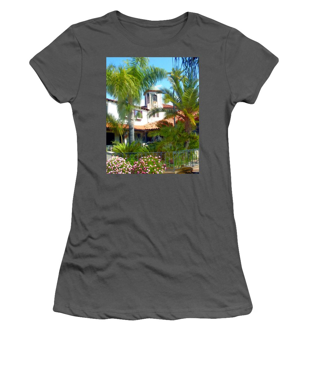 Santa Barbara Women's T-Shirt (Athletic Fit) featuring the photograph El Presidio by Kurt Van Wagner