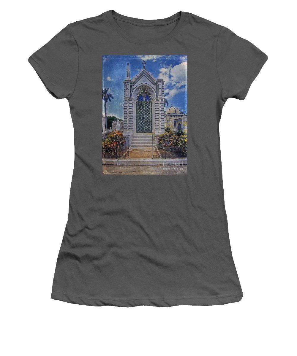 Elaborate Women's T-Shirt (Athletic Fit) featuring the photograph Elaborate Mausoleum Colon Cemetery Havana Cuba Espada Cemetery by David Zanzinger