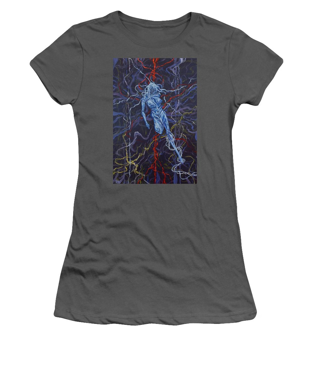 Pain Women's T-Shirt (Athletic Fit) featuring the painting Electric Pain by Judy Henninger