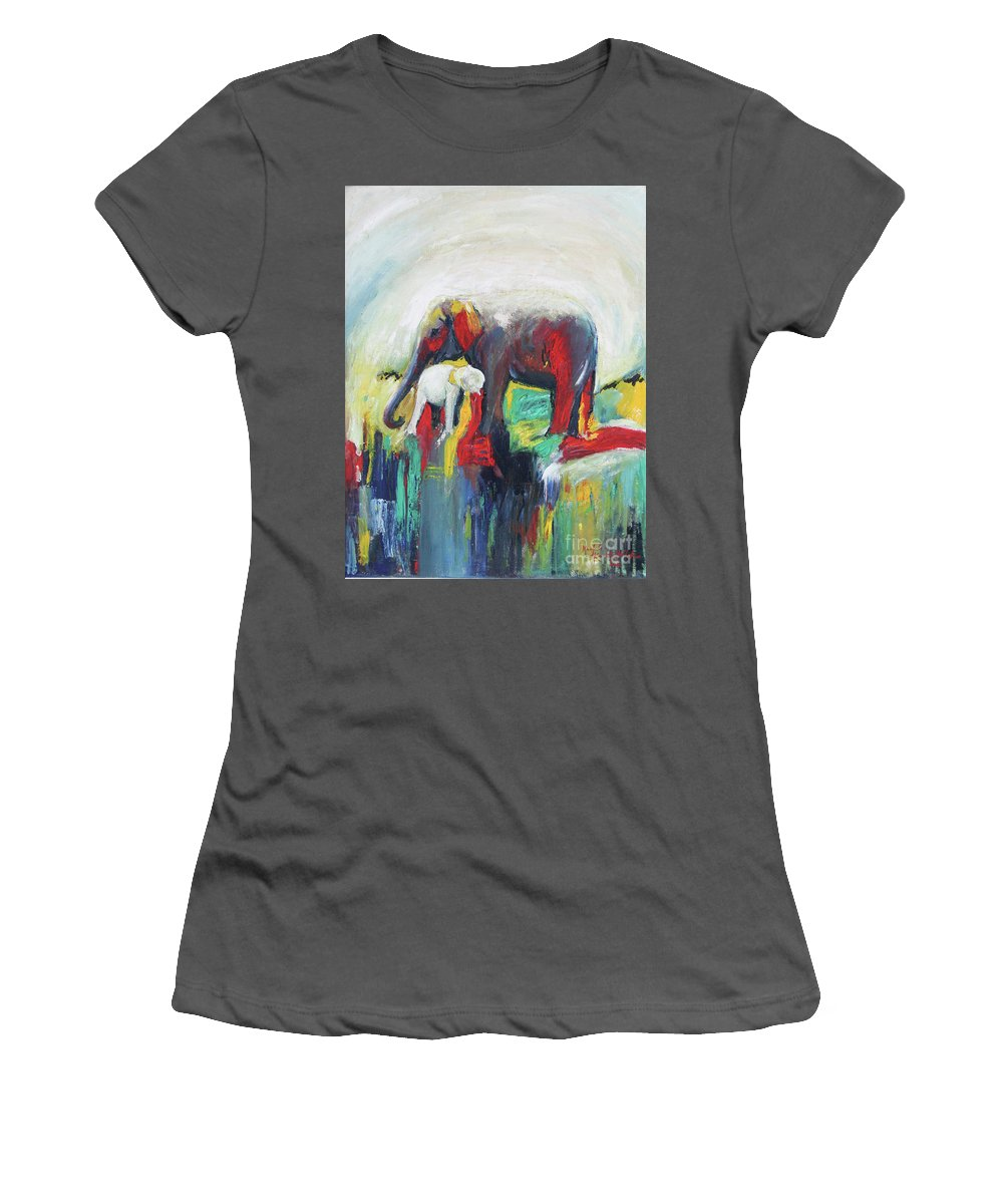 Elephant Women's T-Shirt (Athletic Fit) featuring the painting Elephant Baby And Mother by Manjula Karunathilaka