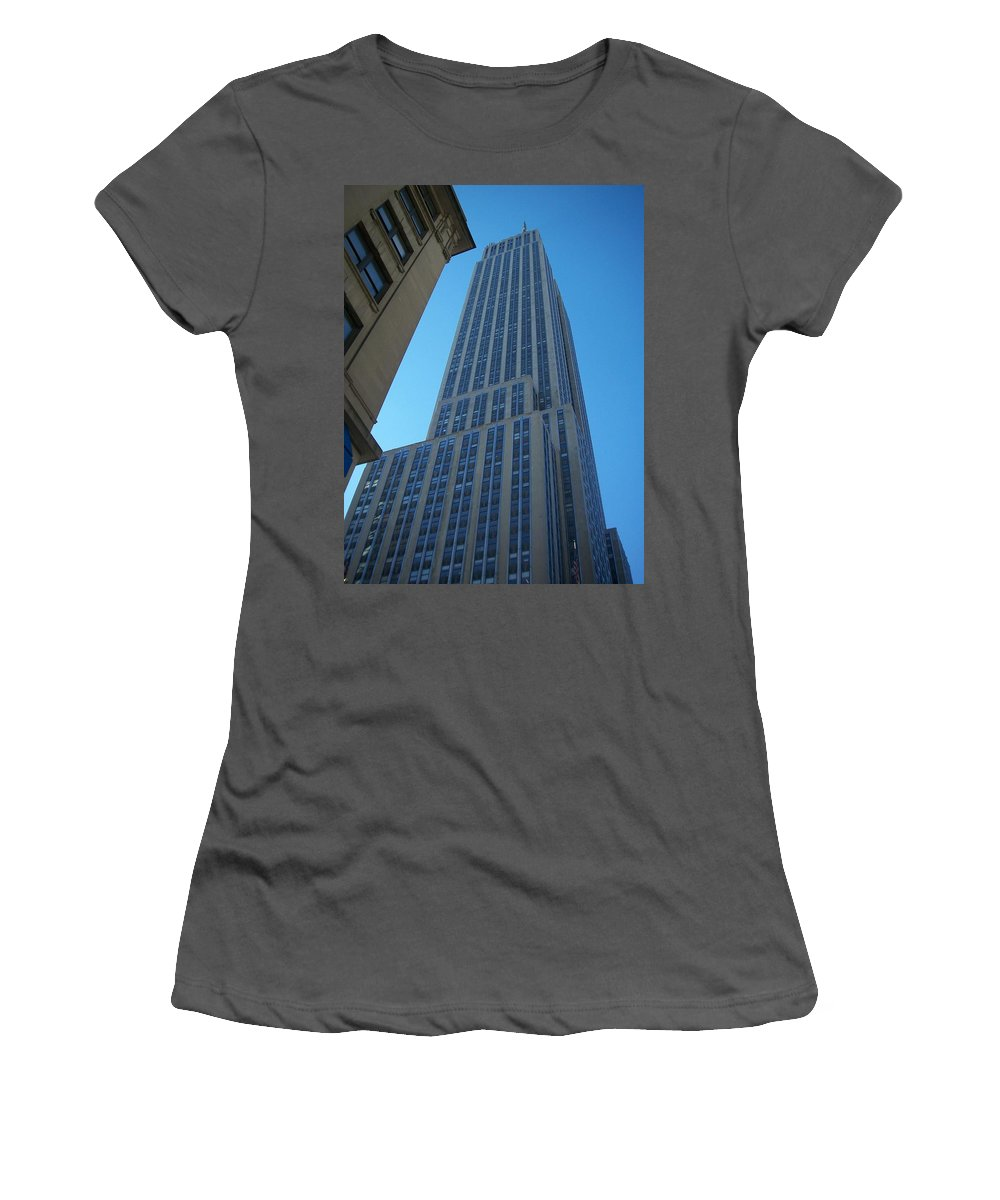 Emoire State Building Women's T-Shirt (Athletic Fit) featuring the photograph Empire State 2 by Anita Burgermeister