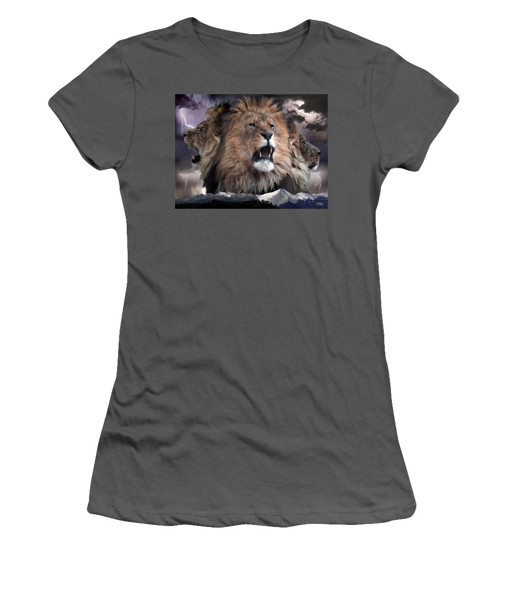 Lions Women's T-Shirt (Athletic Fit) featuring the digital art Enough by Bill Stephens