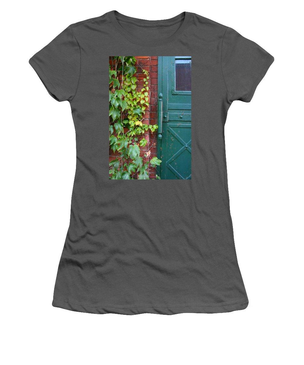 Vines Women's T-Shirt (Athletic Fit) featuring the photograph Enter Vine Door by Minaz Jantz