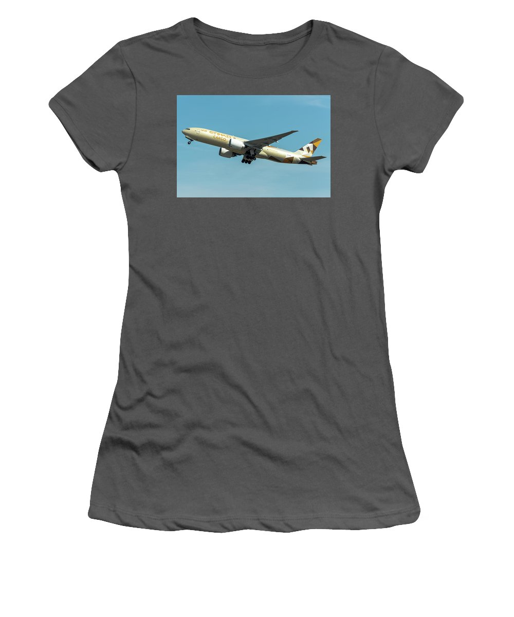 Passenger Women's T-Shirt (Athletic Fit) featuring the photograph Ethiad Cargo Boeing B777 by Roberto Chiartano