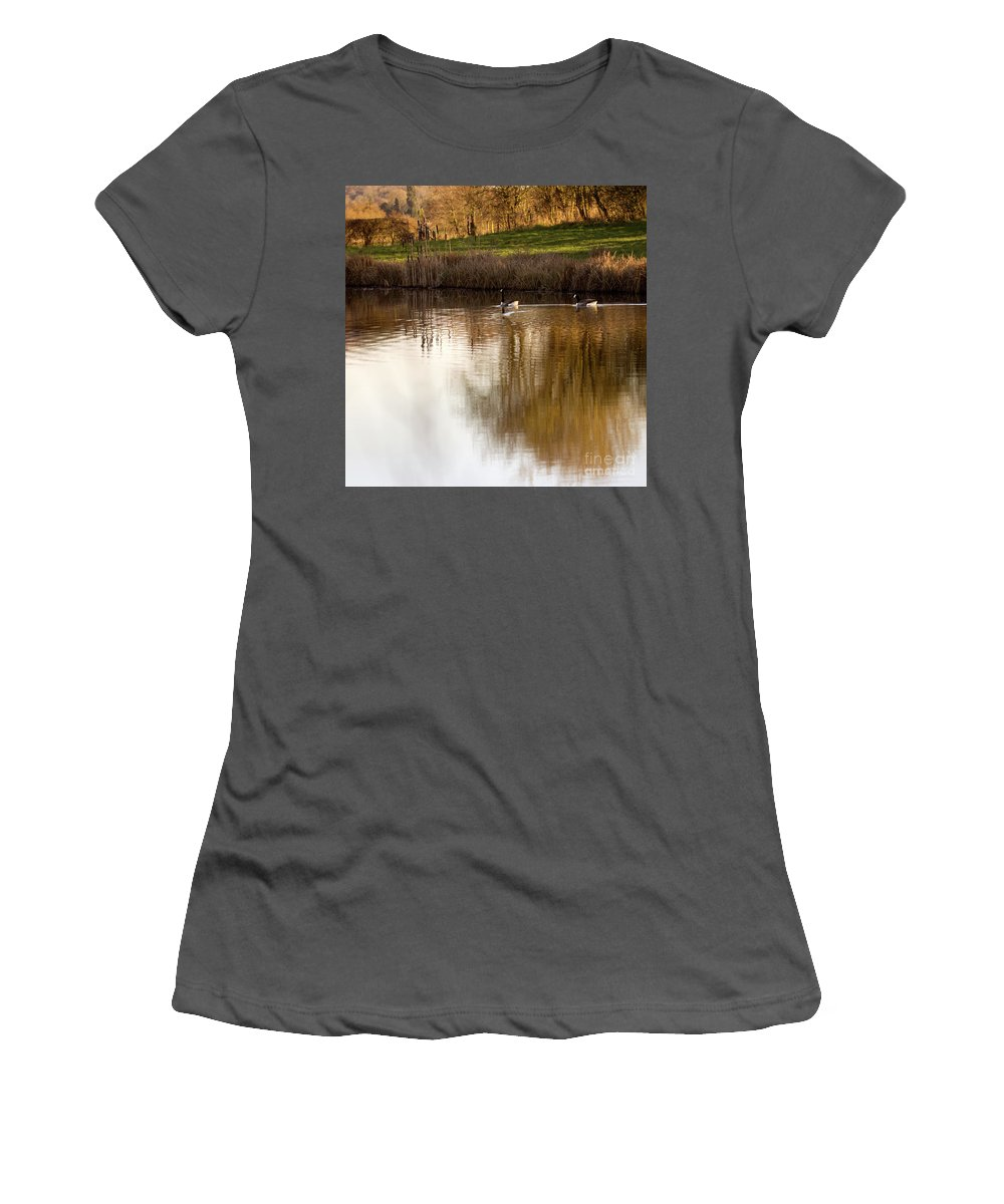 Pond Women's T-Shirt (Athletic Fit) featuring the photograph Evening By The Pond by Angel Ciesniarska
