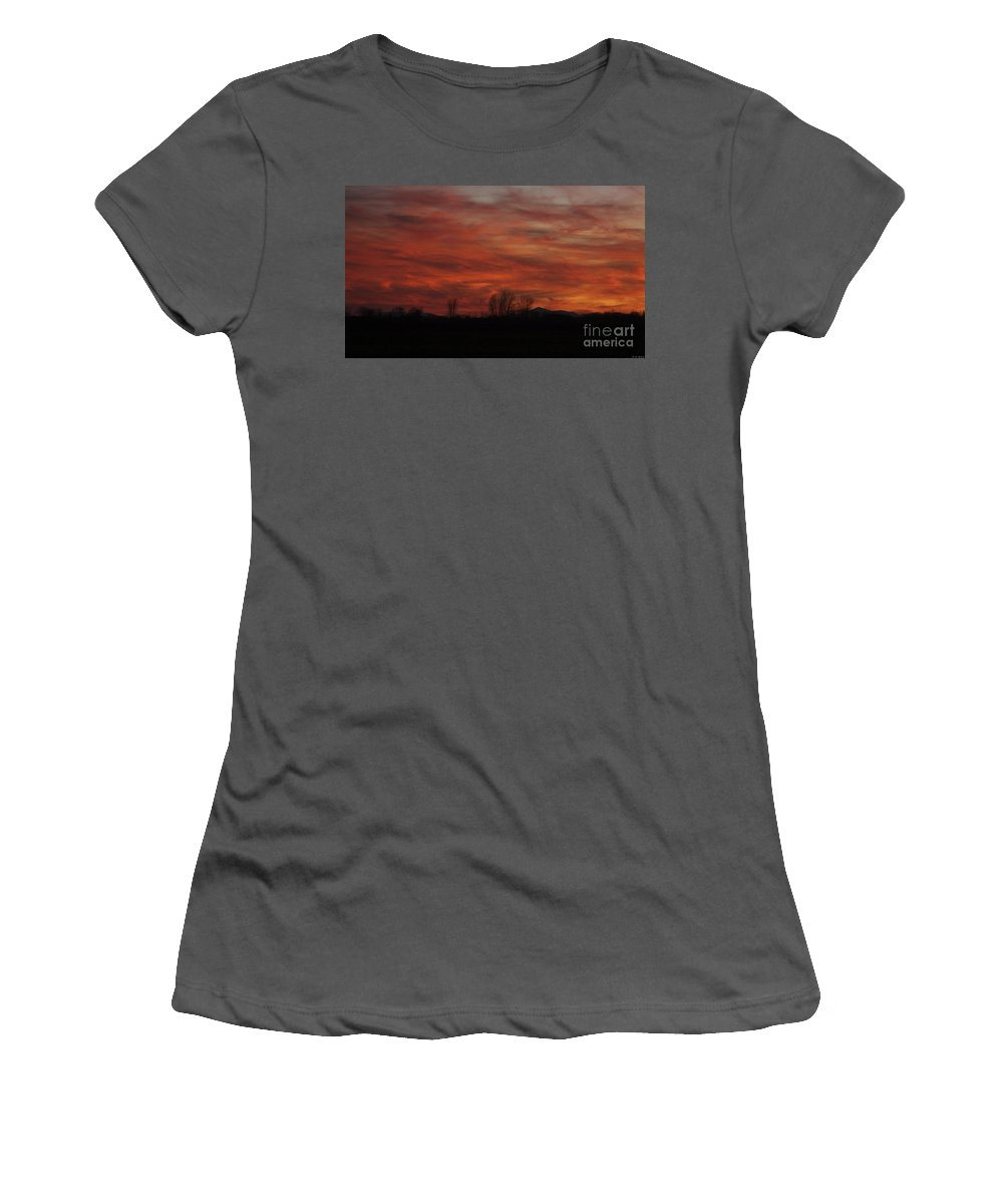 Sunset Women's T-Shirt (Athletic Fit) featuring the photograph Evening In Red by Deborah Benoit
