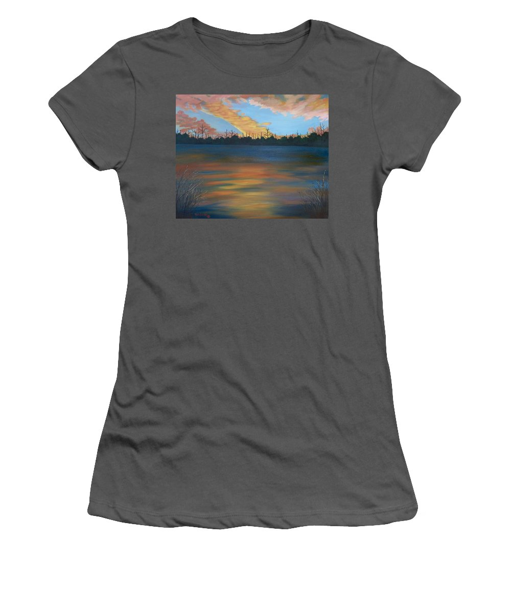 Landscape Women's T-Shirt (Athletic Fit) featuring the painting Evening Peace by Ruth Housley