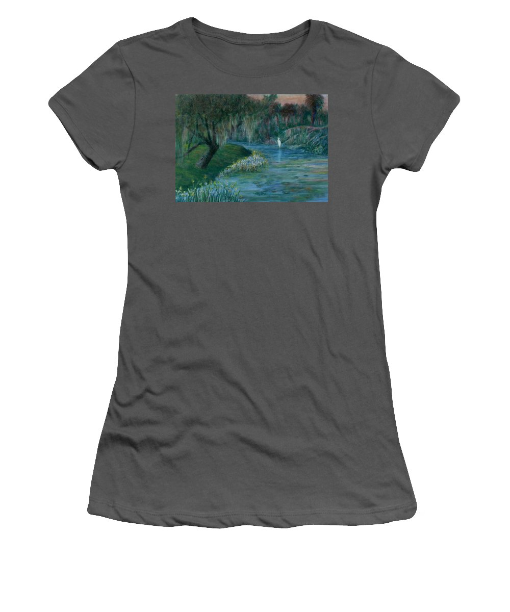 Low Country; Egrets; Lily Pads Women's T-Shirt (Athletic Fit) featuring the painting Evening Shadows by Ben Kiger