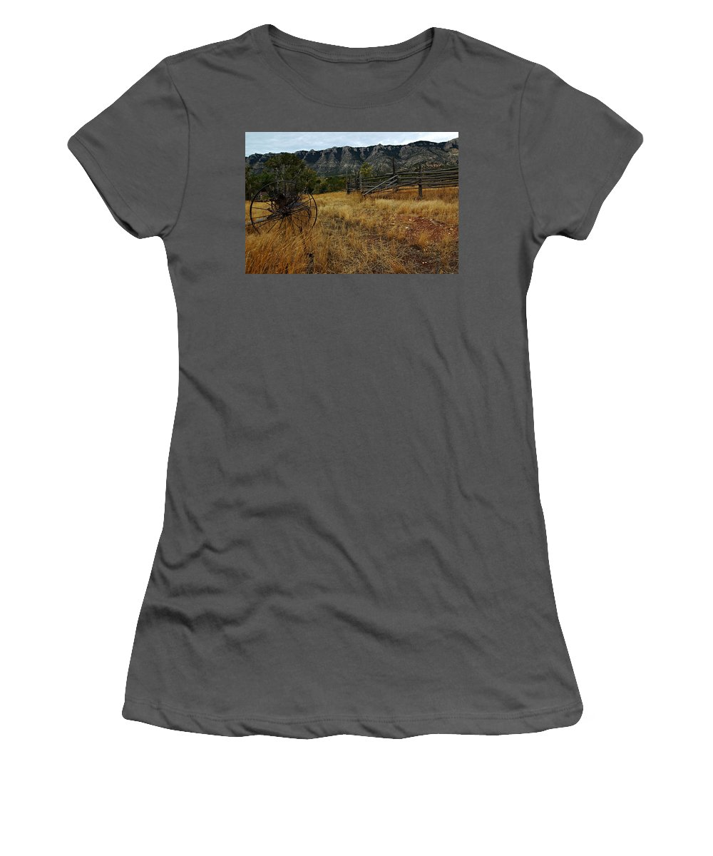 Bighorn Canyon National Recreation Area Women's T-Shirt (Athletic Fit) featuring the photograph Ewing-snell Ranch 2 by Larry Ricker