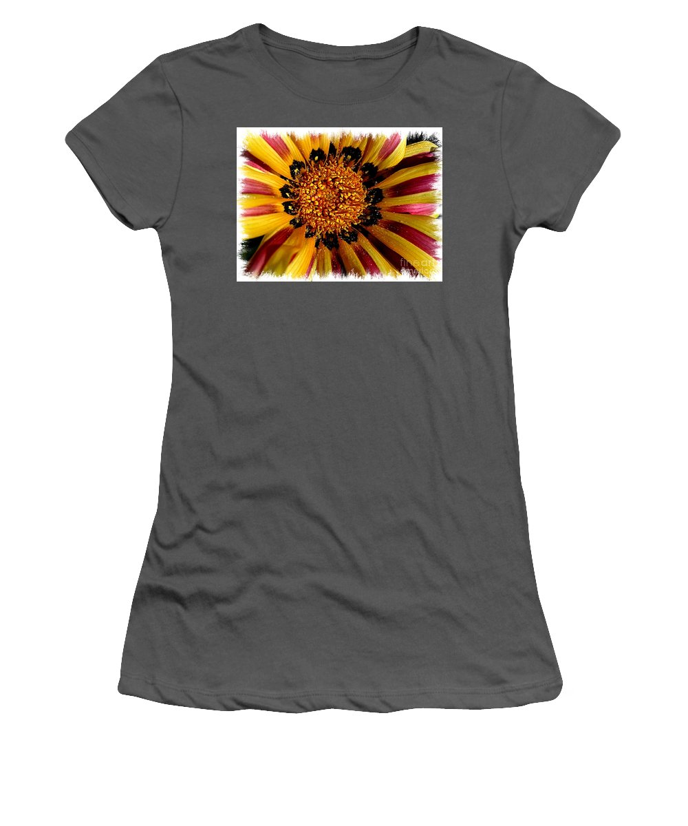 Daisy Women's T-Shirt (Athletic Fit) featuring the photograph Explosion Of Color - Framed by Carol Groenen