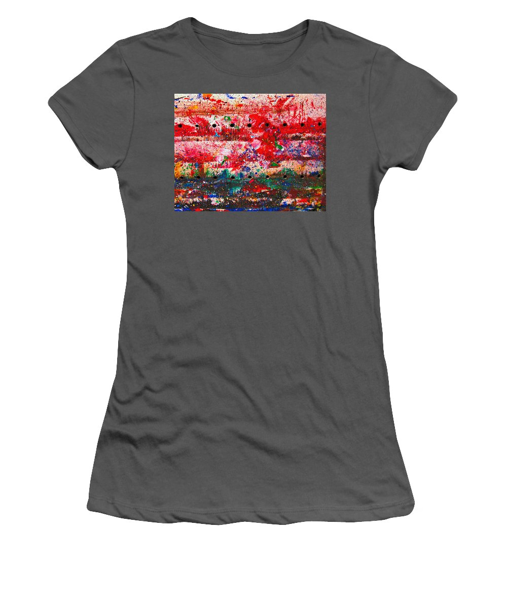 Abstract Women's T-Shirt (Athletic Fit) featuring the painting Extravaganza by Natalie Holland