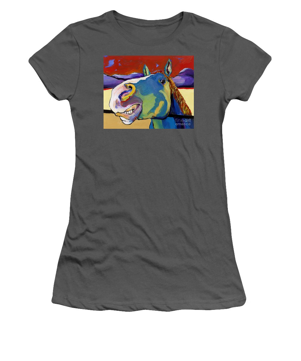 Animal Painting Women's T-Shirt (Athletic Fit) featuring the painting Eye To Eye by Pat Saunders-White