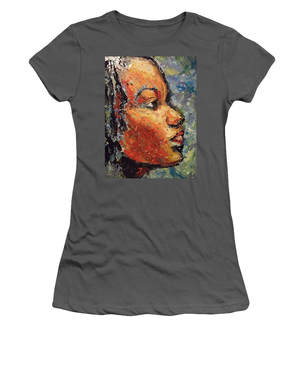 Women's T-Shirt (Athletic Fit) featuring the painting Eyes To The Sky by Jan Gilmore