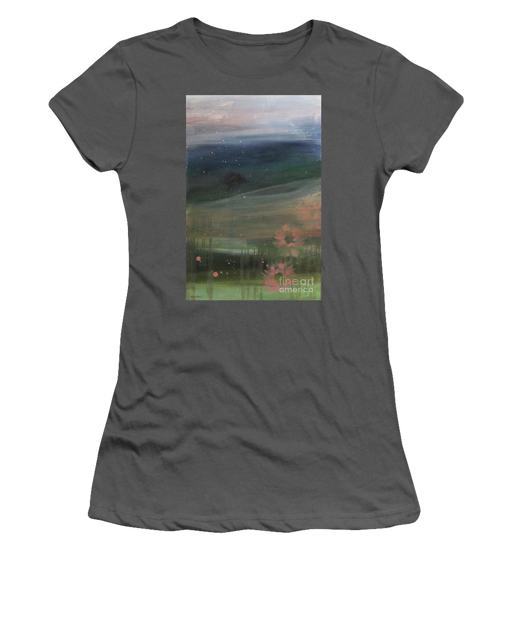 Abstract Women's T-Shirt (Athletic Fit) featuring the painting Faded Days Gone By by Robin Maria Pedrero