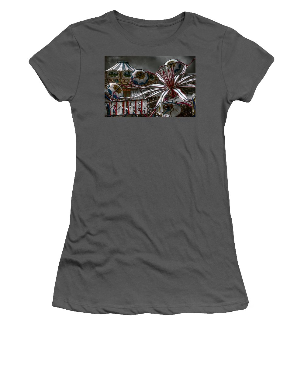 Fair Women's T-Shirt (Athletic Fit) featuring the photograph Fairground Rides by Wayne Sherriff