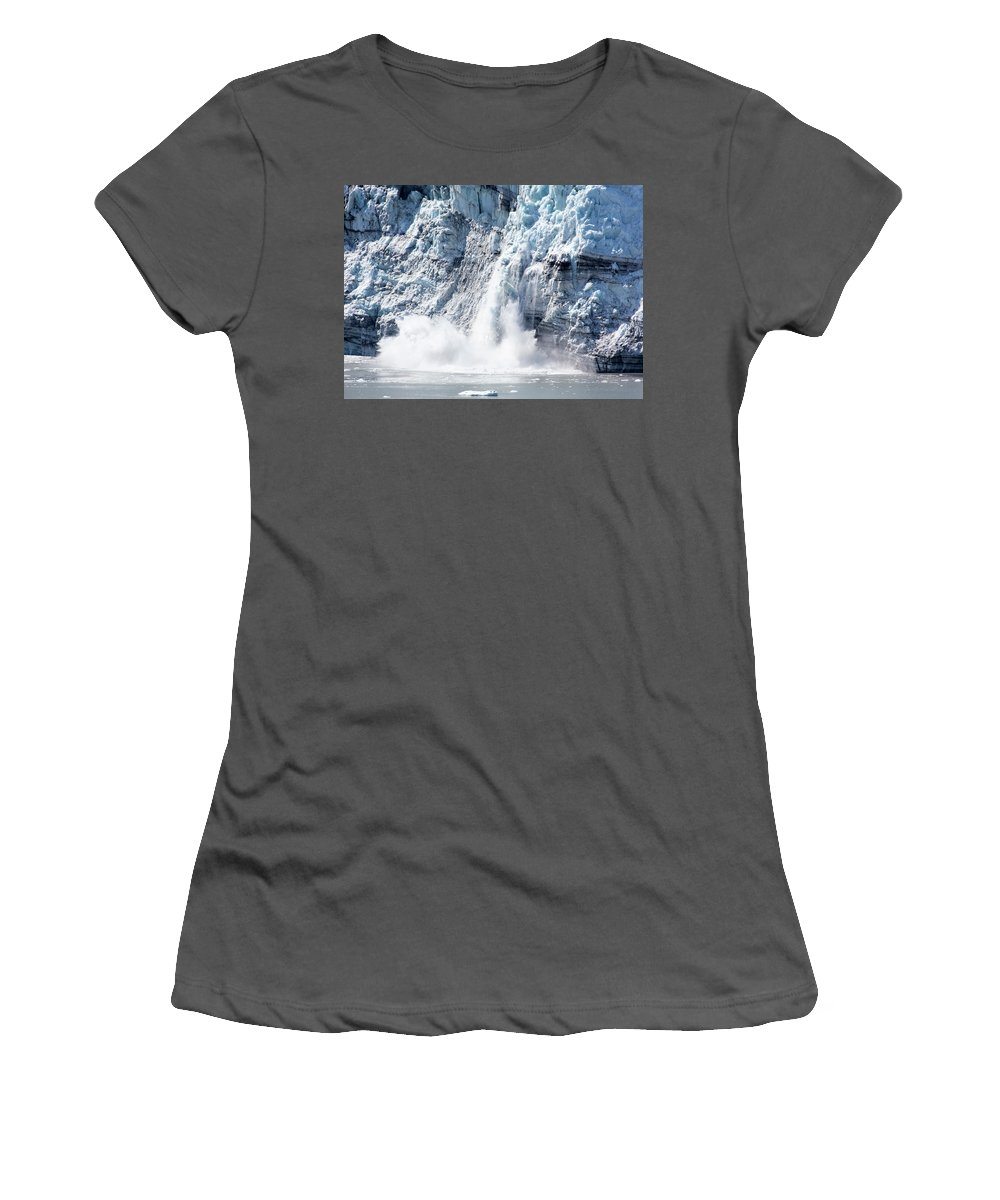 Ice Women's T-Shirt (Athletic Fit) featuring the photograph Falling Ice In Alaska by Ramunas Bruzas