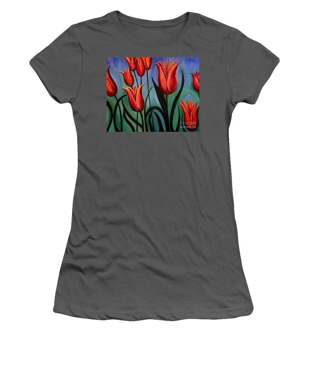 Flower Women's T-Shirt (Athletic Fit) featuring the painting Fanciful by Elizabeth Robinette Tyndall