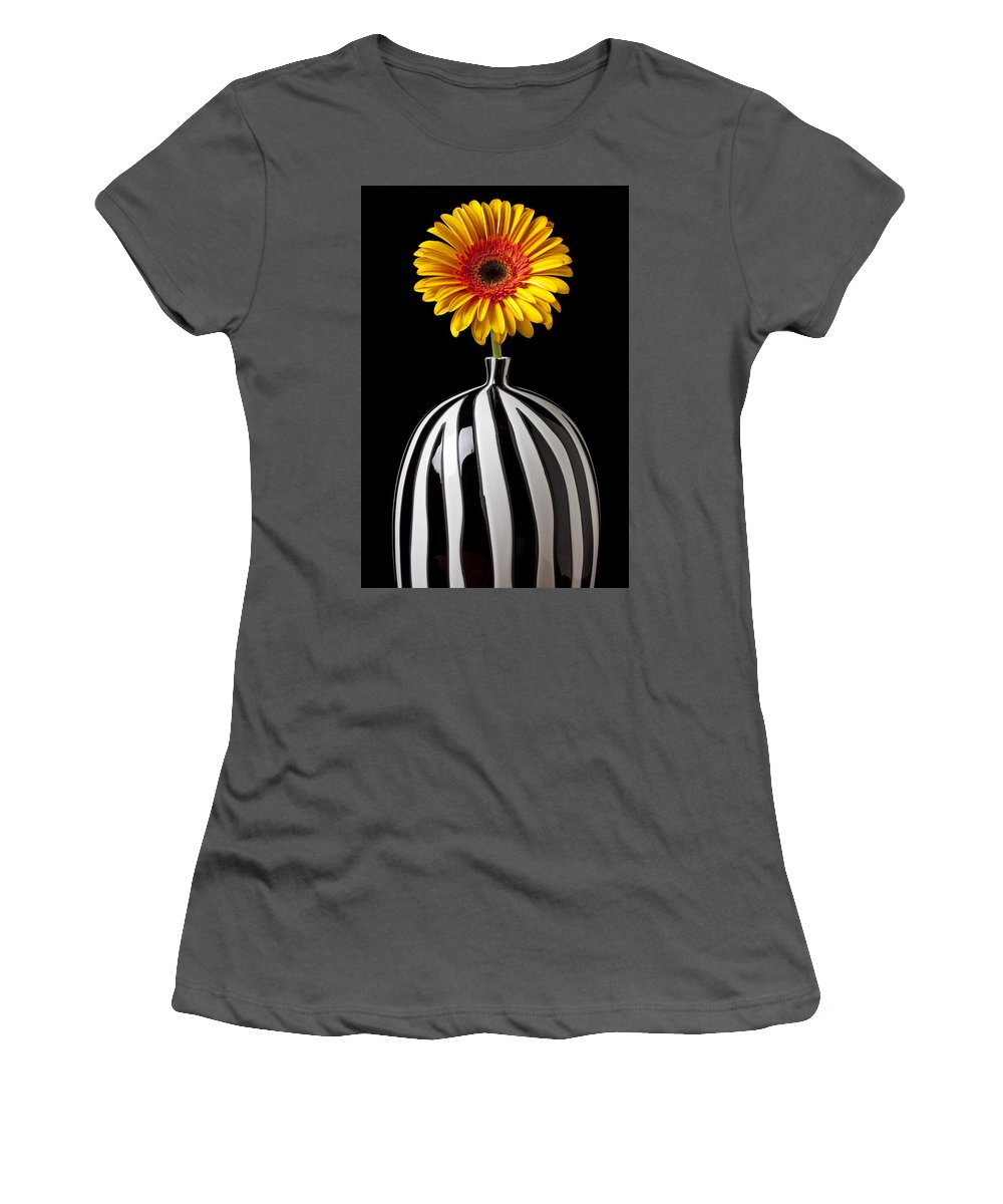Daisy Flower Vase Petals Yellow Women's T-Shirt (Athletic Fit) featuring the photograph Fancy Daisy In Stripped Vase by Garry Gay