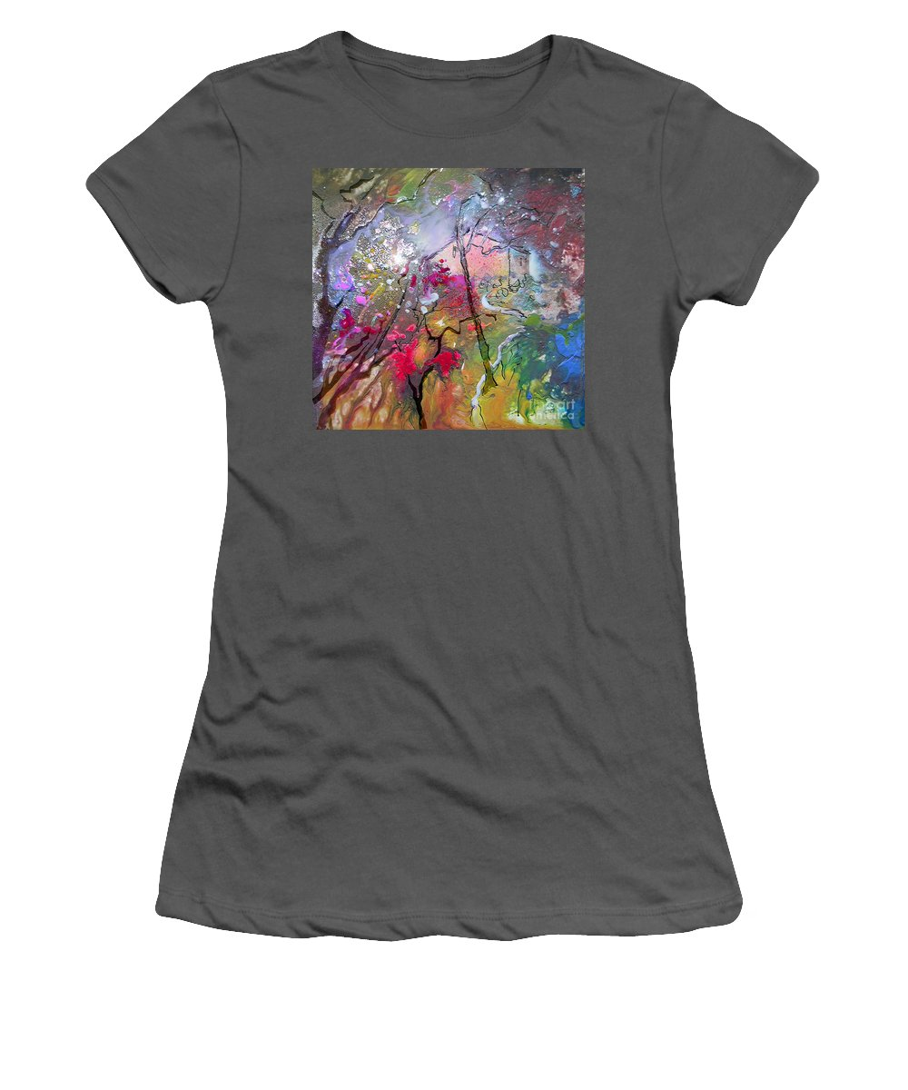 Miki Women's T-Shirt (Athletic Fit) featuring the painting Fantaspray 19 1 by Miki De Goodaboom