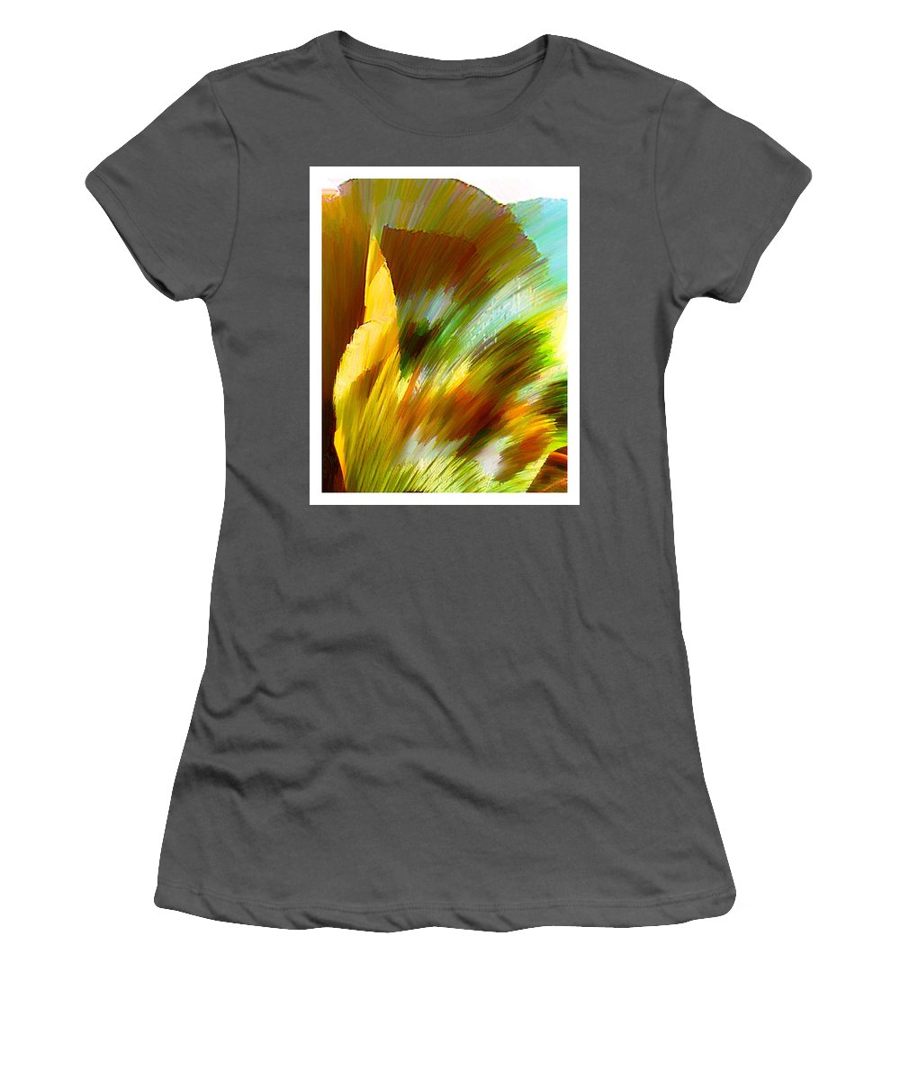 Landscape Digital Art Watercolor Water Color Mixed Media Women's T-Shirt (Athletic Fit) featuring the digital art Feather by Anil Nene