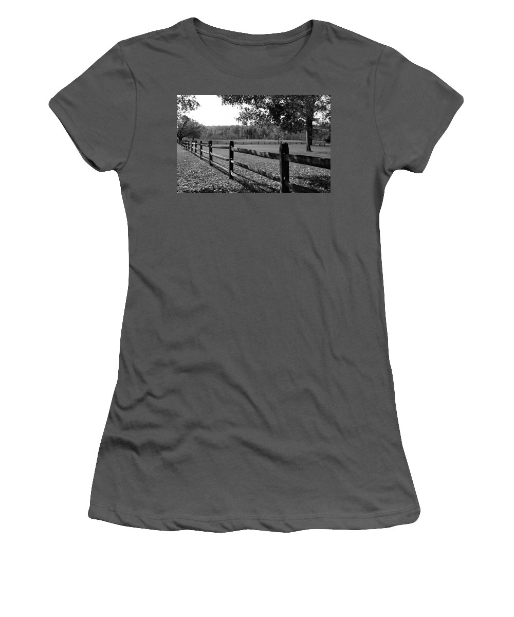 Fence Women's T-Shirt (Athletic Fit) featuring the photograph Fence Perspective by Kristin Elmquist