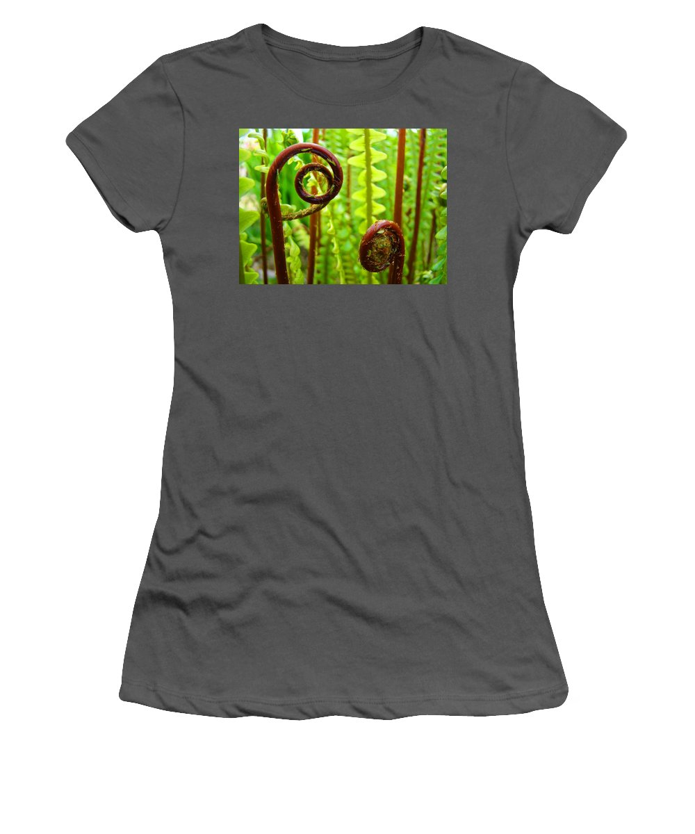 Fern Women's T-Shirt (Athletic Fit) featuring the photograph Fern Fronds Fine Art Photography Forest Ferns Green Baslee Troutman by Baslee Troutman