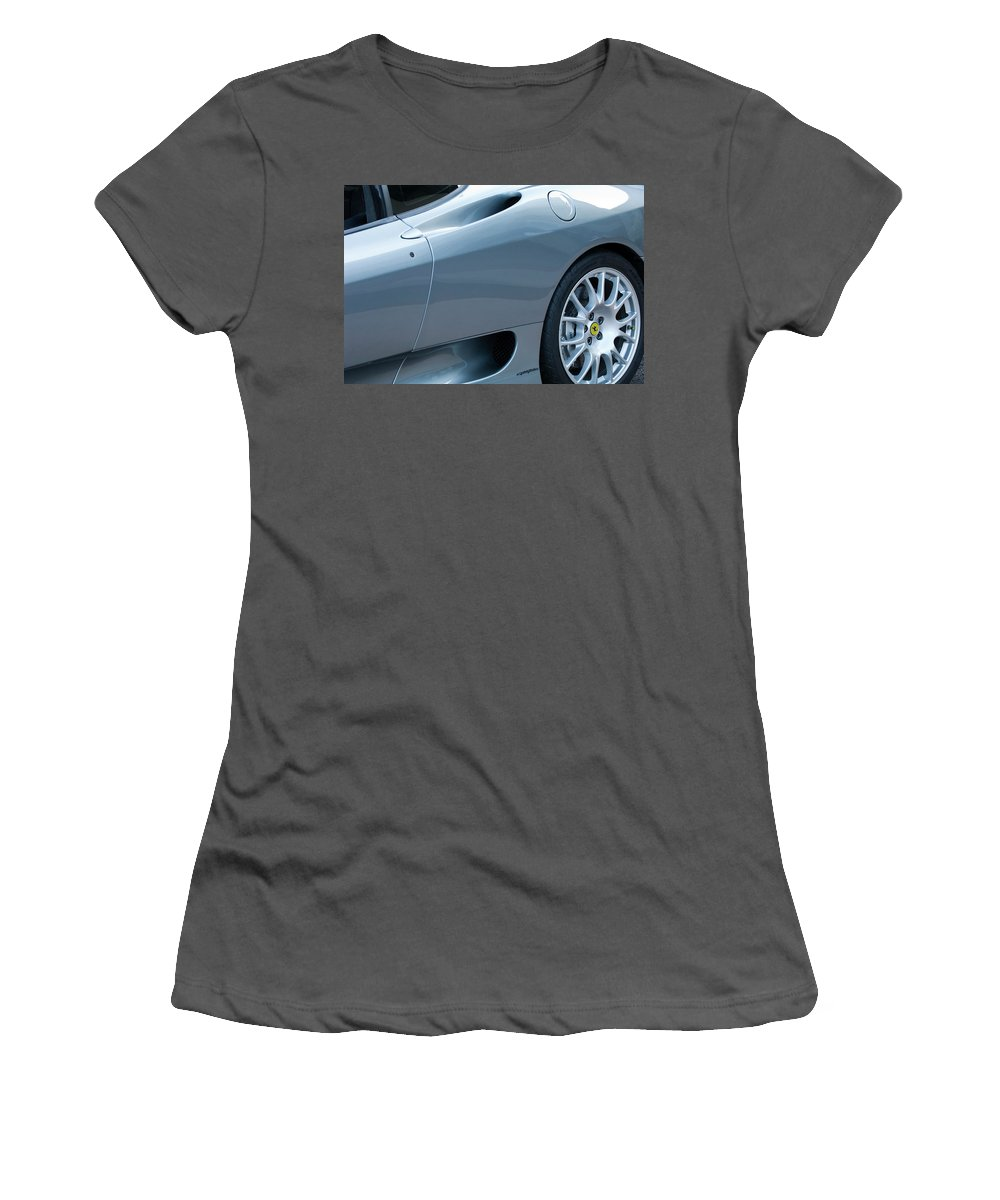 Ferrari Women's T-Shirt (Athletic Fit) featuring the photograph Ferrari Wheel by Jill Reger