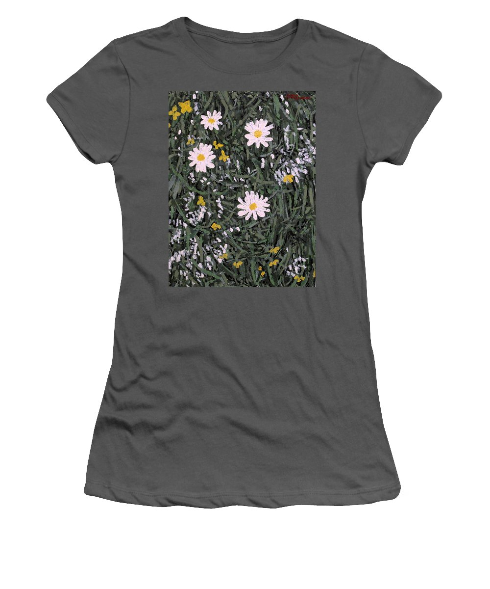 Daisies Women's T-Shirt (Athletic Fit) featuring the painting Field Daisies by Ian MacDonald