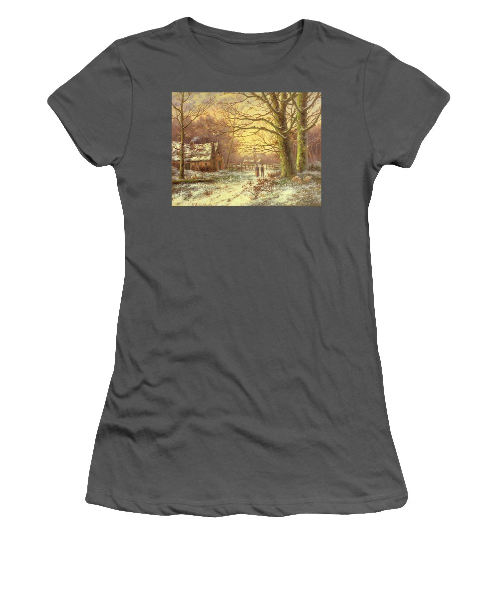 Figures On A Path Before A Village In Winter By Johannes Hermann Barend Koekkoek (1840-1912) Women's T-Shirt (Athletic Fit) featuring the painting Figures On A Path Before A Village In Winter by Johannes Hermann Barend Koekkoek