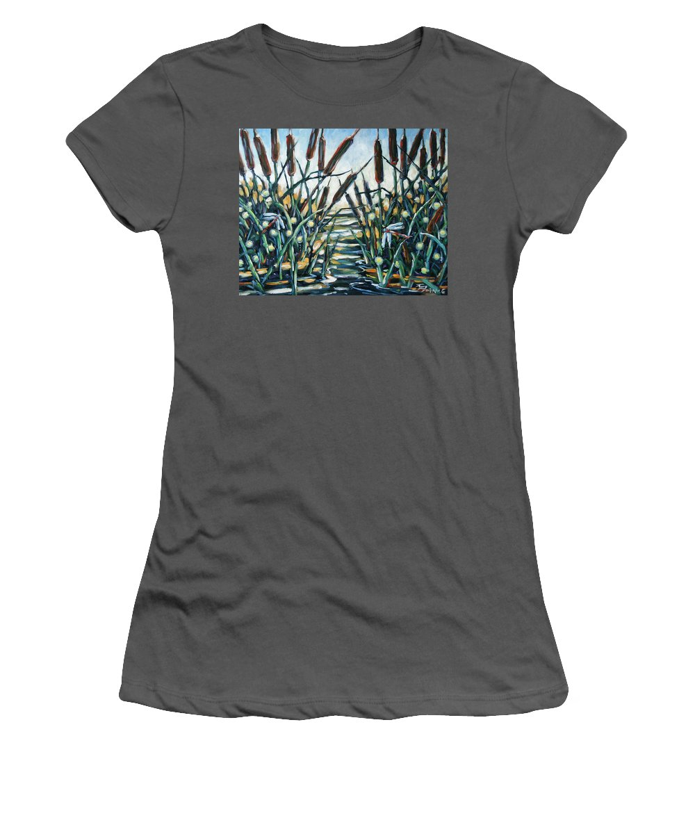 Art Women's T-Shirt (Athletic Fit) featuring the painting Fire And Dragonflies by Richard T Pranke
