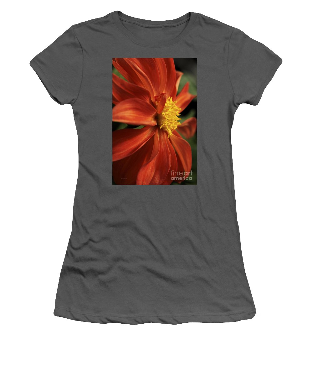 Flower Women's T-Shirt (Athletic Fit) featuring the photograph Fire Dahlia by Deborah Benoit