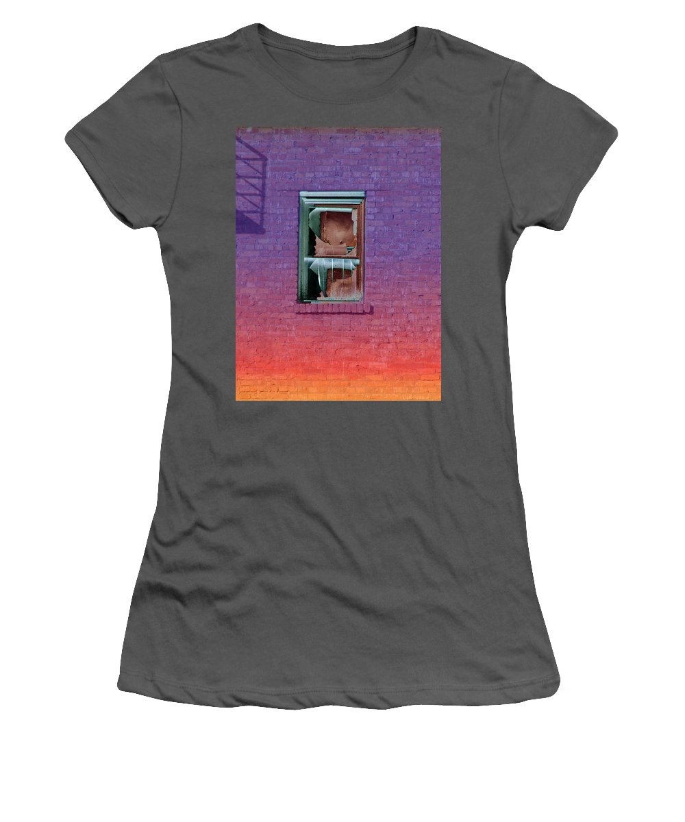 Architecture Women's T-Shirt (Athletic Fit) featuring the photograph Fire Escape Window 2 by Tim Allen