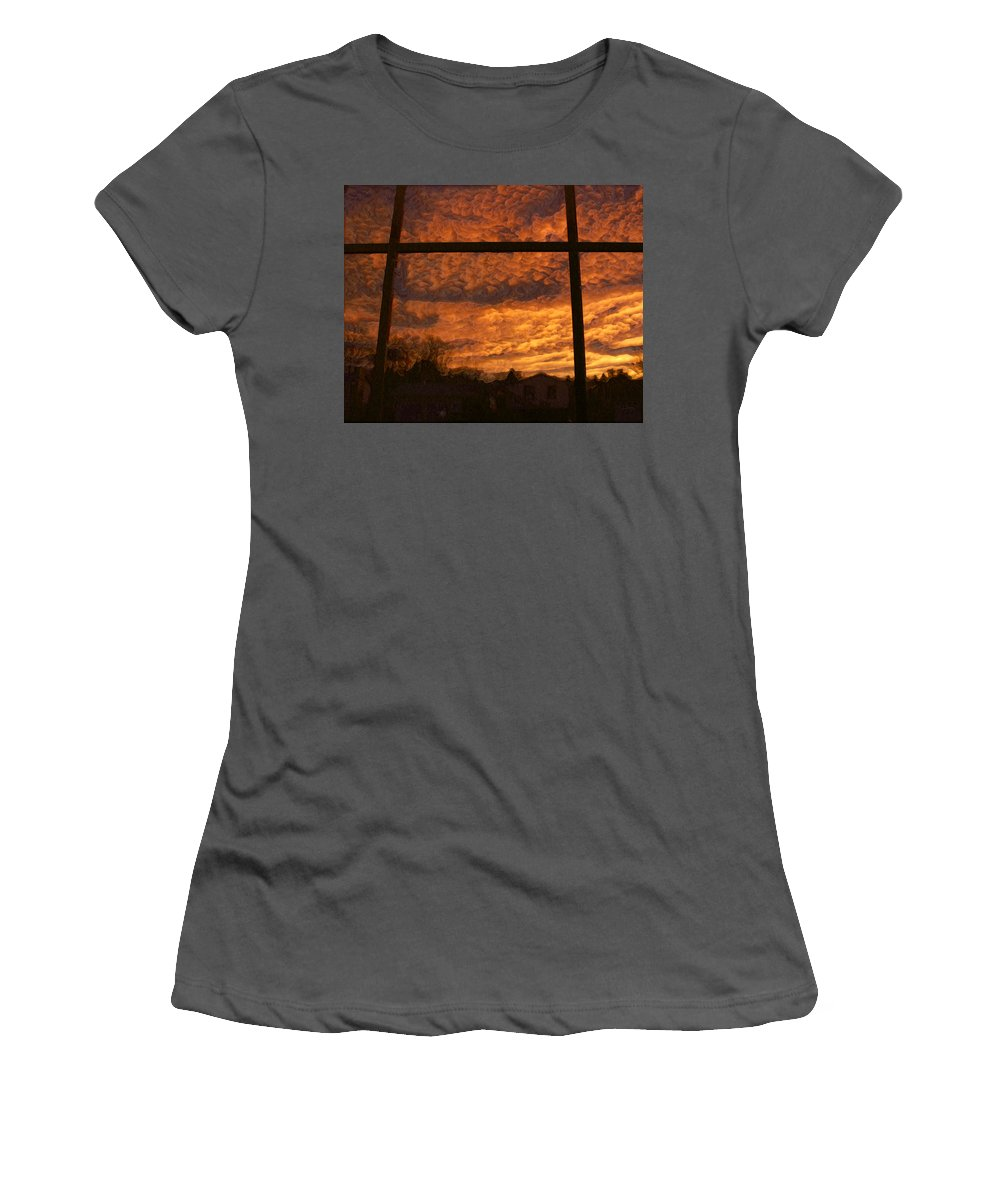 Skies Women's T-Shirt (Athletic Fit) featuring the digital art Fire In The Sky 2 by Ernie Echols